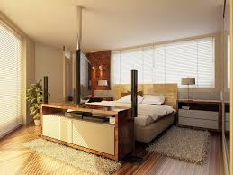 Small Bedroom Interior Bright Bedroom Interior Idea In Small Space With Brown Bedding And