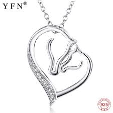 whole 925 sterling silver necklace jewelry collier crystal heart horse head pendants necklaces fashion women jewelry gifts gnx0486 jewellery key