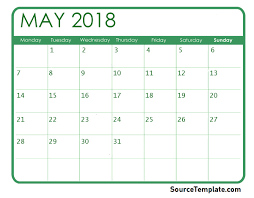 Blank May Calendar Free 5 May 2018 Calendar Printable Template Pdf Source Template