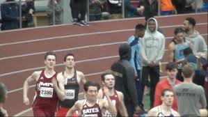 danny newman with his foot on the lane line in the 400