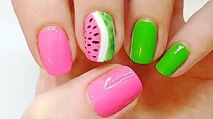 3-Step Super Cute Watermelon Nails, Watermelon Nail Art Tutorial ...