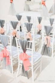2016 fast delivery diy hot silver satin chair sashes with pink ribbon bow wedding decorations pure white pink wedding theme chair covers for weddings