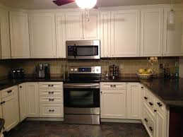 kitchen backsplash white cabinets brown countertop. White Kitchen Cabinets With Backsplash L Shape Cabinet Brown Brick Tile Cream Countertop