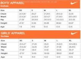 Nike Boys Clothing Size Chart 49 Circumstantial Nike Kids Sizing Chart