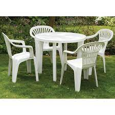 plastic patio table and chairs set off