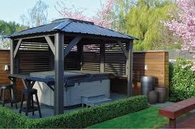 outdoor natural timber spa gazebo