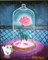 beauty and the beast rose on canvas oil color disney