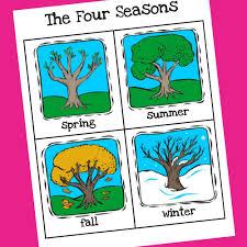 Seasons Chart Kindergarten Weather Seasons Printable Cards Prekinders
