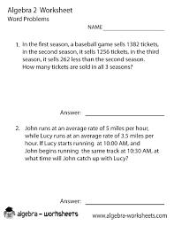 algebra 2 word problems worksheet