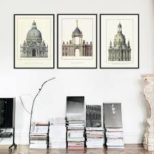 triptych classic european palace famous scenery art prints poster