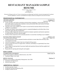 Restaurant Manager Resume Job Description