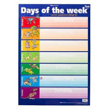 Days Of The Week Chart Days Of The Week Wall Chart