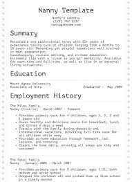 Example Of Nanny Resumes Nanny Resume Example Resume Com