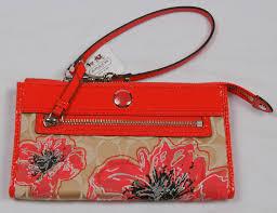 AUTHENTIC COACH Poppy Signature Flower Zippy Wallet Wristlet  47070.