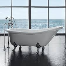 grey ceramic floor tiles with white clawfoot tub