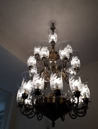rustic design glass shade large antique chandelier