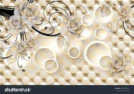 3d Flowers background with circle ...