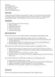 Resume Templates: City Clerk