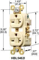 product datasheet hbl5462i 2 pole 3 wire grounding 20a 250v 6 20r flush nylon face back side wired ivory