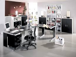 home office idea. Office:Comfortable Modern Home Office Design With Dark Brown Floor Color And Nice Pictures Also Idea