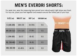 Men S Bottoms Size Chart Mens Ev Tech Everdri Shorts