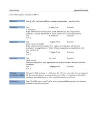 Resume Template Word Basic Free Simple Resume Templates Jobsxs Com