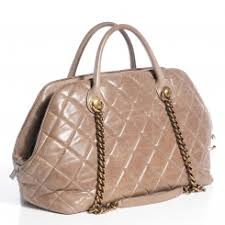 CHANEL Calfskin Quilted Castle Rock Bowling Bag Grey 126140 & Pinch/Zoom Adamdwight.com