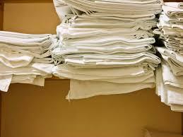shelf of folded towels