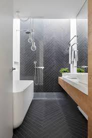 ensuite bathroom. mark st, fitzroy north ensuite bathroom, chevron tile pattern, timber joinery, marble bathroom t