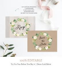Flowers Wreath Save The Date Postcard Template F6