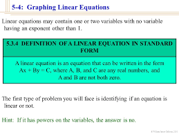 5 3 4 definition of a linear equation in standard form