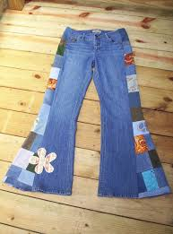 deff gotta make me some patchwork bell bottom jeans but using diffe patches