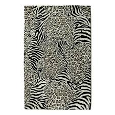 unicef market zebra and leopard black and white hand tufted wool area rug wild harmony