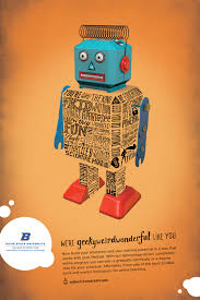 poster series promotes strengths of edtech program update photo of a blue and orange robot