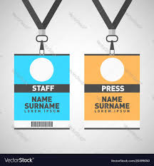 Lanyard Badge Design Event Staff And Press Id Cards Set With Lanyards
