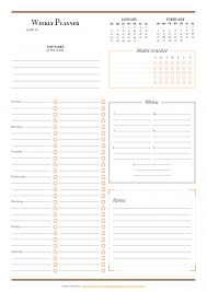 Horizontal Weekly Planner Template Free Printable Weekly Planner Templates