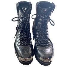 Lace Up Boots Louis Vuitton Black Size 8 Us In Plastic 7519421