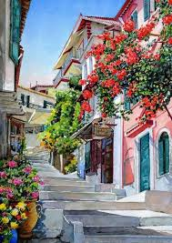 plaka watercolour painting by p zografos