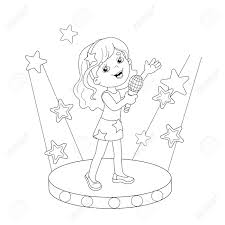 Small Picture Coloring Page Outline Of Cartoon Girl Singing A Song On Stage
