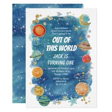 Space Party Invitation Galaxy Space Party Cosmic Planet Birthday Invitation
