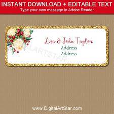 Holiday Address Label Templates Christmas Address Label Template Editable Christmas Return