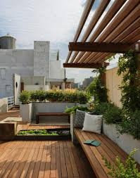 Exterior:Interesting Roof Terrace Design With Long Wooden Bench Seat And  Neutral Green Plant Idea