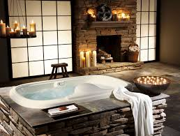 Engaging Vintage Bathroom Decors With Beautiful Candles In Fireplace Also  White Porcelain Oval Tubs Added Stacked Stones Bath Panels In Traditional  Romantic ...