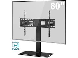 fitueyes universal tv stand pedestal base with swivel wall mount for 50
