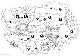 Cute Food Coloring Pages Kawaii Foods Free Printable Coloring Pages