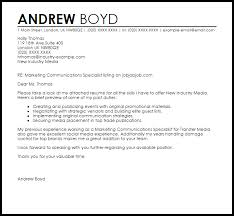 Marketing Communications Specialist Cover Letter Sample Cover