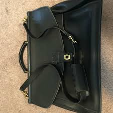 coach other coach mens black leather briefcase