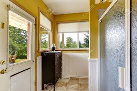 Farm House Interior Bright Yellow Wall With White Trim Bathroom - Yellow and white bathroom