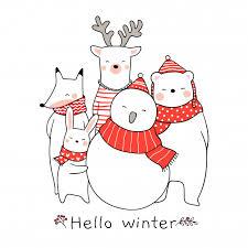 Draw cute animal <b>rabbit bear deer</b> fox for christmas Vector ...