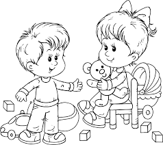 Small Picture Preschool Boy And Girl Playing Toys Coloring Page Wecoloringpage